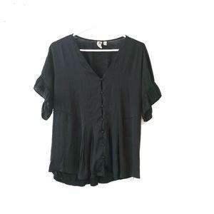 DOLAN Button Down Black Shirt with Ruffles Medium